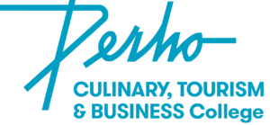 Perho Culinary, Tourism & Business College logo, turquoise on white
