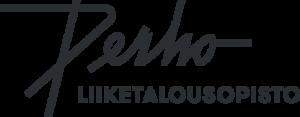 Perho Liiketalousopisto -logo, musta valkoisella pohjalla