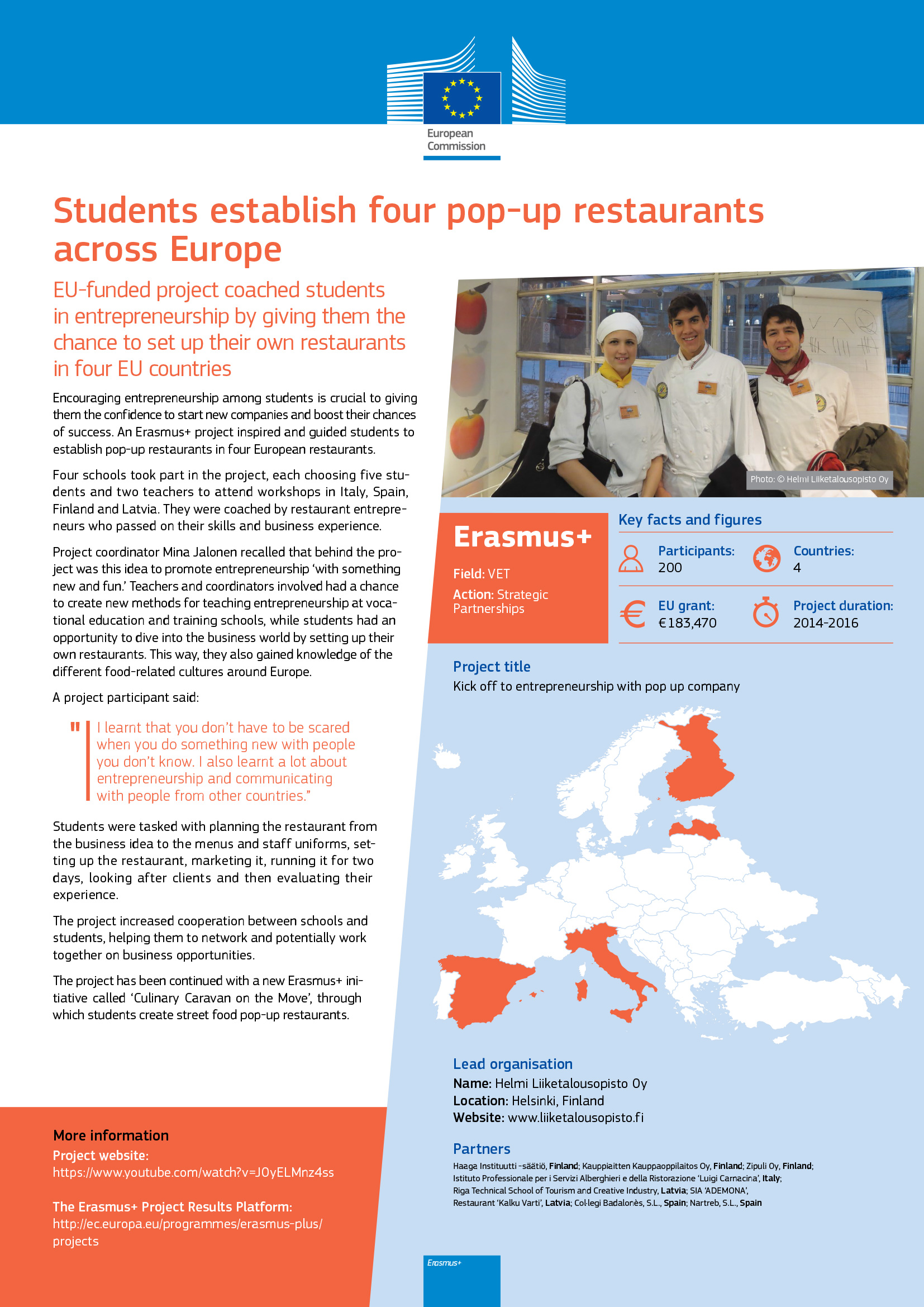 EU noteerasi taas International POP-UP Restaurant -hankkeemme