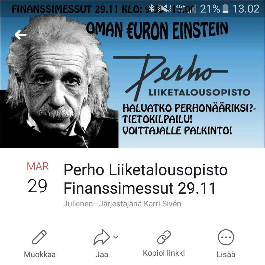 Tulossa: Oman Euron Einstein ke 29.11.