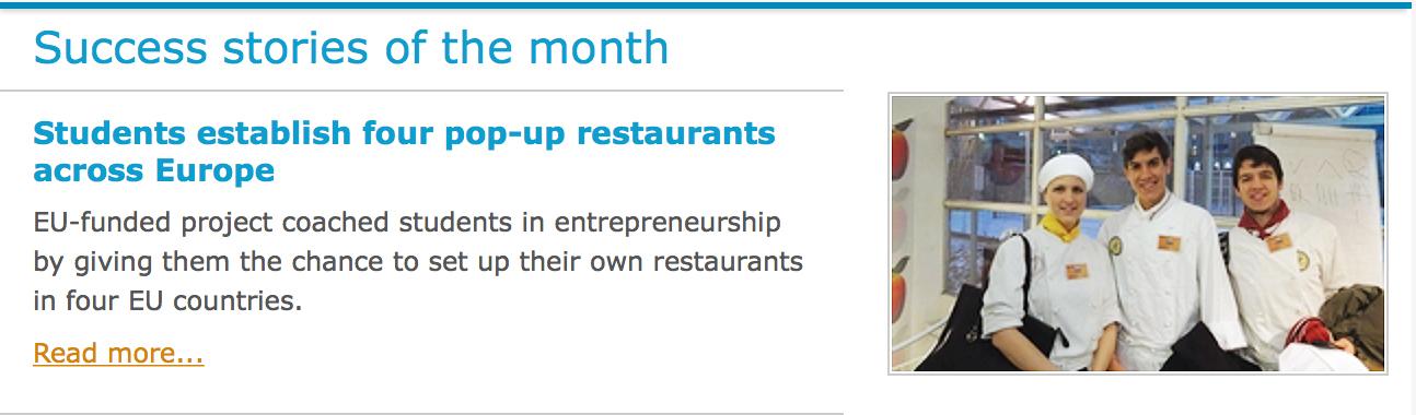 EU noteerasi taas International POP-UP Restaurant -hankkeemme