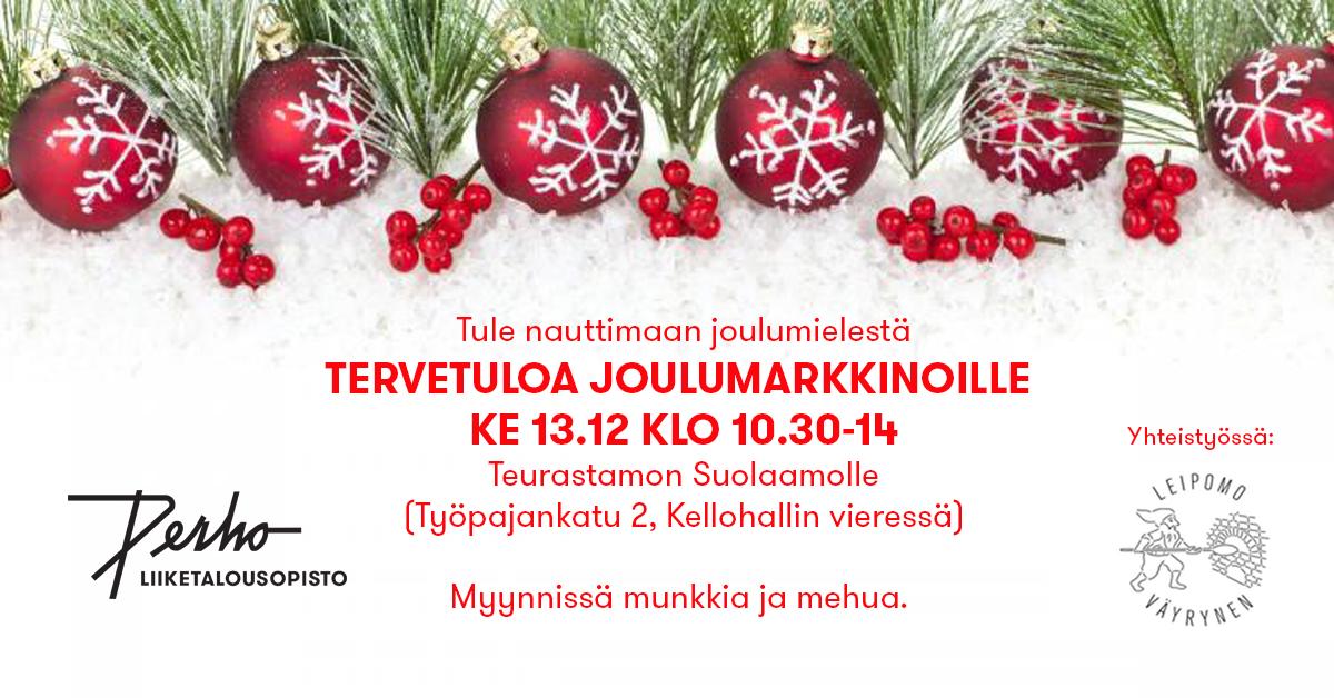 Perholaiset joulumarkkinat nyt ke 13.12. Teurastamolla!