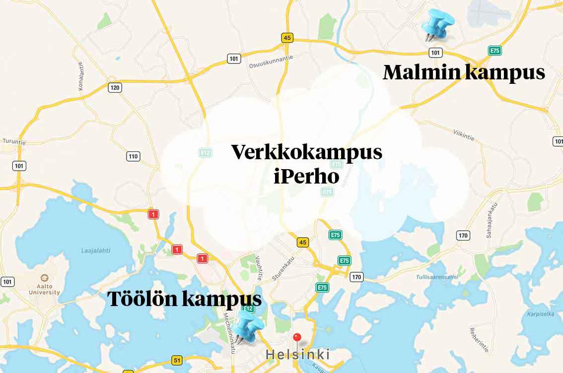 kuvituskuva: kartalla Malmin ja Töölön kampukset sekä verkkokampus