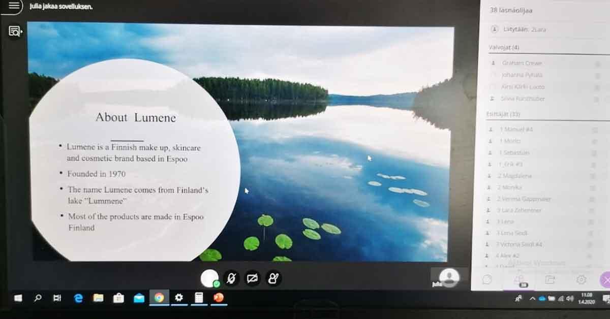 Virtuaali-B2B:tä Salzburgissa, Lumene-myyntipresentaatio